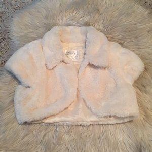 Justice White Fur Vest Jacket Coat 8-10